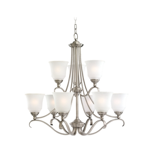 Sea Gull Lighting Chandelier with White Glass in Antique Brushed Nickel Finish 39381BLE-965