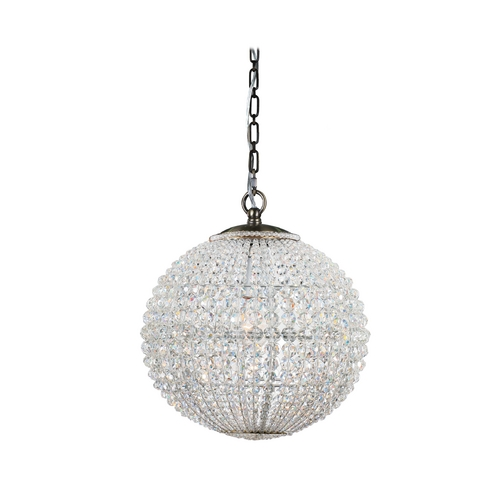 Crystorama Lighting Crystal Pendant Light with Clear Glass in Antique Brass Finish 6754-AB
