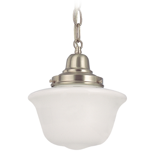 Design Classics Lighting 8-Inch Schoolhouse Mini-Pendant Light with Chain in Satin Nickel FB4-09 / GD8 / B-09