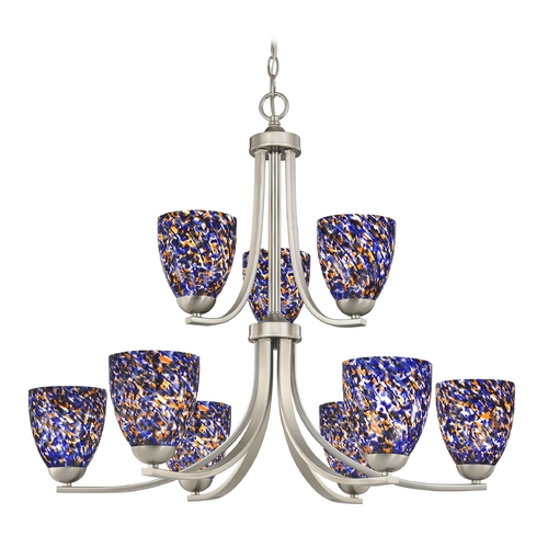 Design Classics Lighting Modern Chandelier in Satin Nickel Finish 586-09 GL1009MB