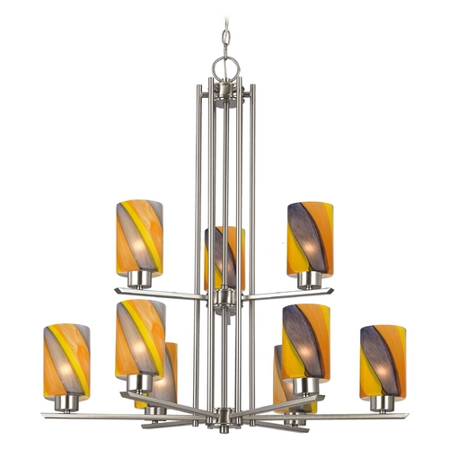 Design Classics Lighting Chandelier with Art Glass in Satin Nickel - 9-Lights 1122-1-09 GL1015C