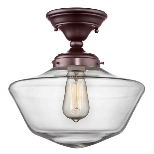 Design Classics Lighting 12-Inch Clear Glass Schoolhouse Ceiling Light in Bronze Finish FAS-220 / GA12-CL