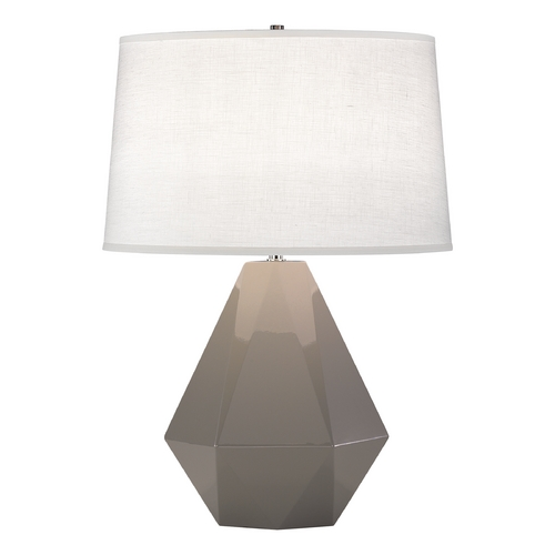 Robert Abbey Lighting Modern Art Deco Table Lamp Smokey Taupe / Polished Nickel Delta by Robert Abbey 942