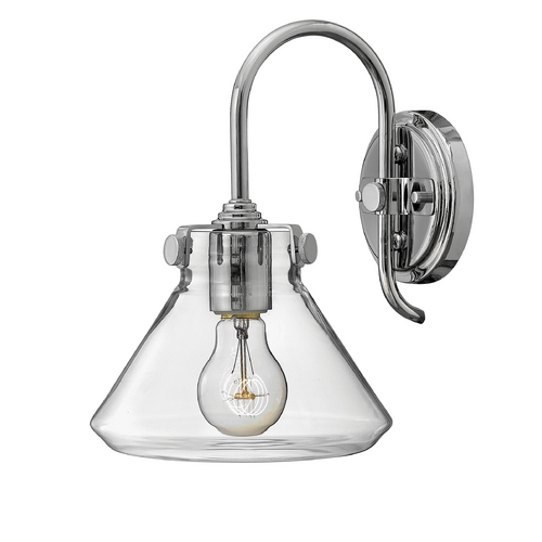 Hinkley Lighting Sconce Wall Light with Clear Glass in Chrome Finish 3176CM
