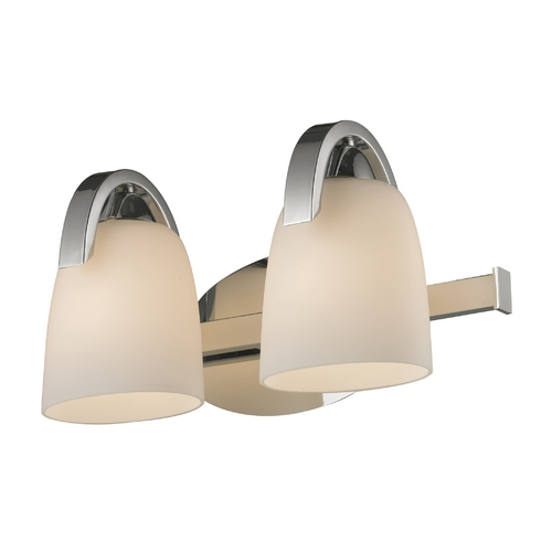 Elk Lighting Modern Bathroom Light with White Glass in Polished Chrome Finish 11386/2