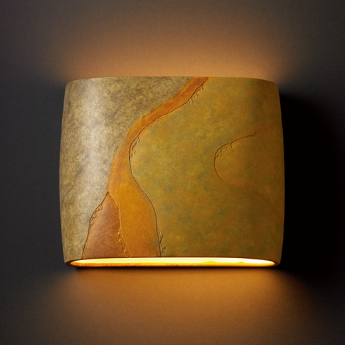 Justice Design Group Sconce Wall Light in Harvest Yellow Slate Finish CER-8855-SLHY