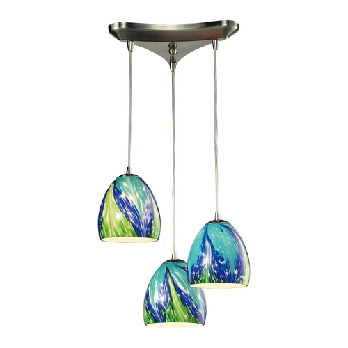 Elk Lighting Multi-Light Pendant Light with Blue Glass and 3-Lights 31445/3TB