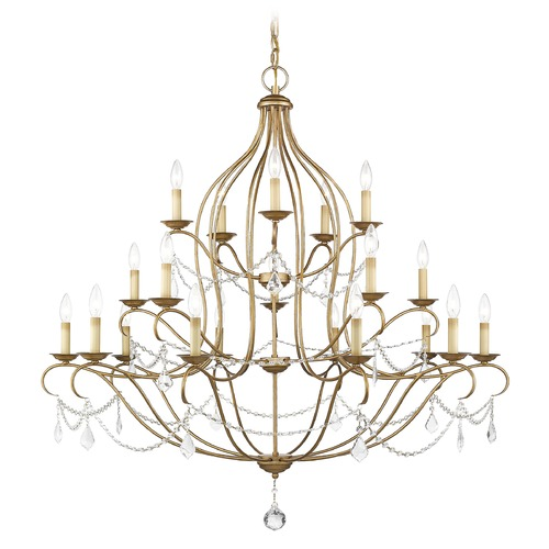 Livex Lighting Livex Lighting Chesterfield Antique Gold Leaf Crystal Chandelier 6439-48
