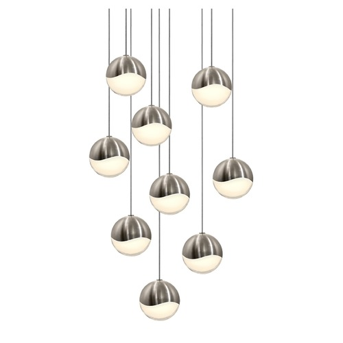 Sonneman Lighting Sonneman Grapes Satin Nickel 9 Light LED Multi-Light Pendant 2916.13-MED