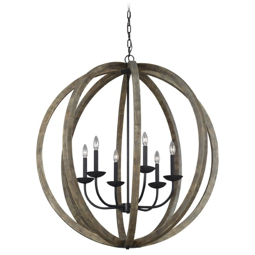 Feiss Lighting Feiss Lighting Allier Weathered Oak Wood / Antique Forged Iron Pendant Light F3186/6WOW/AF