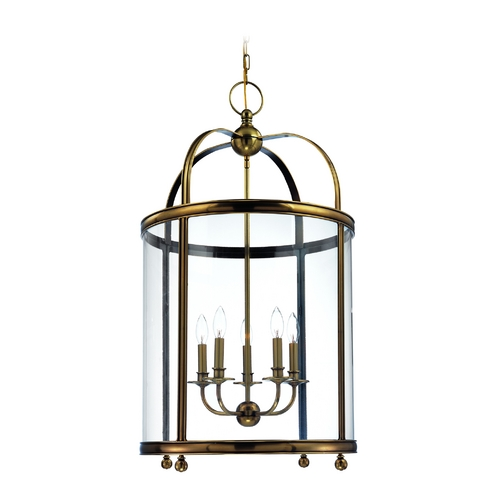 Hudson Valley Lighting Pendant Light with Clear Glass in Aged Brass Finish 7820-AGB