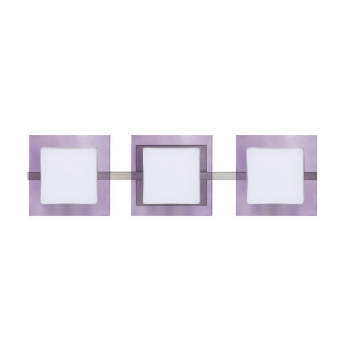 Besa Lighting Modern Bathroom Light with Purple Glass in Satin Nickel Finish 3WS-773591-SN