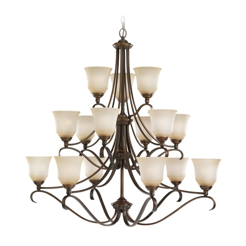 Sea Gull Lighting Chandelier with Beige / Cream Glass in Russet Bronze Finish 39382BLE-829