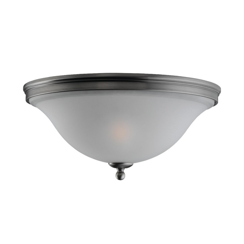 Sea Gull Lighting Flushmount Light with White Glass in Antique Brushed Nickel Finish 75850-965