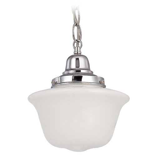Design Classics Lighting 8-Inch Chrome Schoolhouse Mini-Pendant Light with Chain FB4-26 / GD8 / B-26
