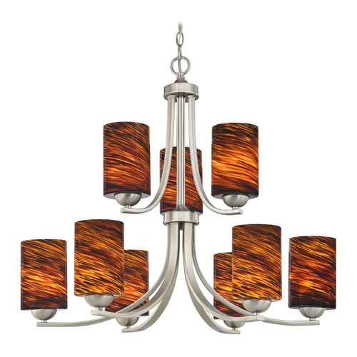 Design Classics Lighting Modern Chandelier with Brown Art Glass in Satin Nickel Finish 586-09 GL1023C