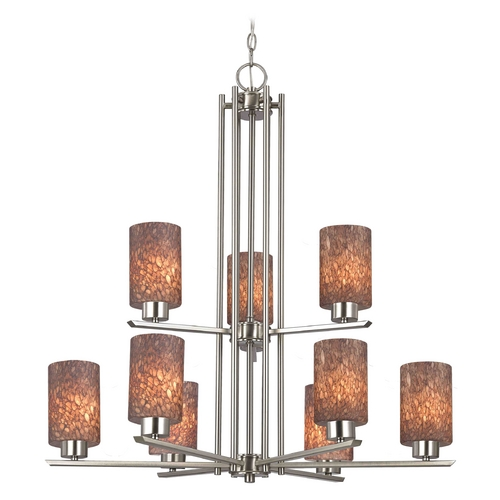 Design Classics Lighting Chandelier with Brown Art Glass in Satin Nickel - 9-Lights 1122-1-09 GL1016C