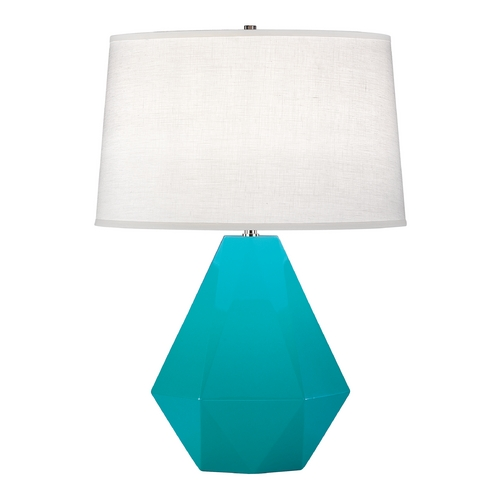 Robert Abbey Lighting Modern Art Deco Table Lamp Egg Blue / Polished Nickel Delta by Robert Abbey 943