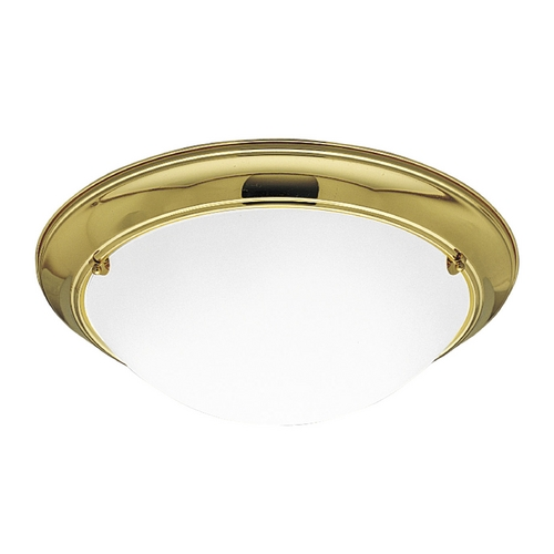 Progress Lighting Progress Flushmount Light with White Glass in Polished Brass Finish P3564-10EB