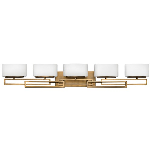 Hinkley Lighting Bathroom Light with White Glass in Brushed Bronze Finish 5105BR