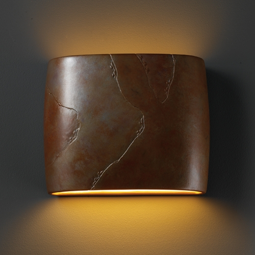 Justice Design Group Sconce Wall Light in Tierra Red Slate Finish CER-8855-SLTR