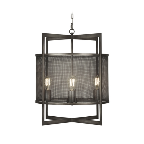 Fine Art Lamps Fine Art Lamps Relativity Antique Hand-Rubbed Steel Pendant Light with Drum Shade 801140ST