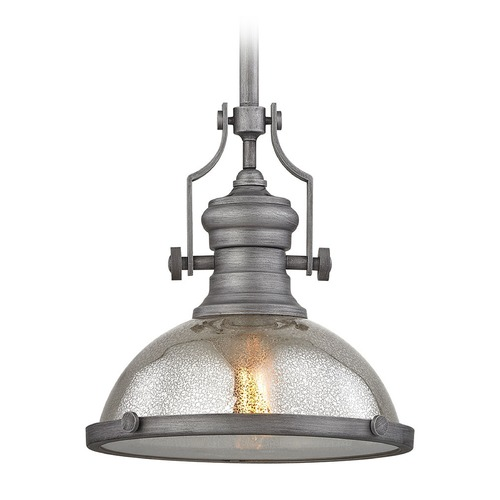 Elk Lighting Elk Lighting Chadwick Weathered Zinc Pendant Light with Bowl / Dome Shade 66553-1