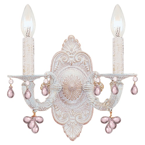 Crystorama Lighting Crystorama Lighting Paris Market Antique White Sconce 5200-AW-ROSA
