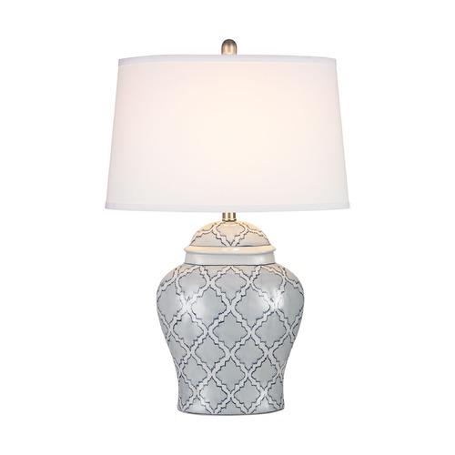 Dimond Lighting Dimond Aragon Blue and White Glaze Table Lamp with Drum Shade D2920