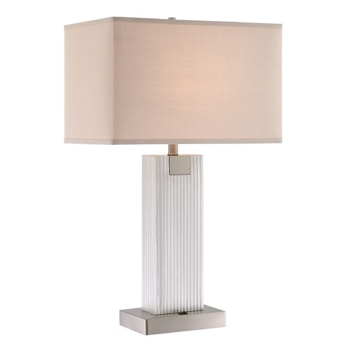 Lite Source Lighting Lite Source Clifton Brushed Nickel Table Lamp with Rectangle Shade LS-23042