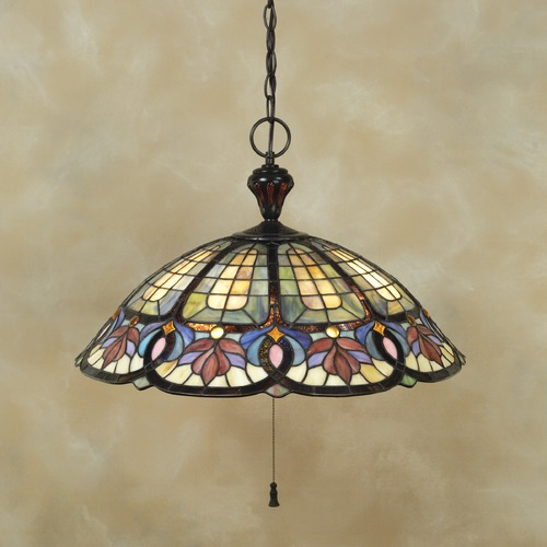 Quoizel Lighting Pendant Light with Multi-Color Glass in Vintage Bronze Finish TF1618VB