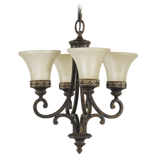 Feiss Lighting Mini-Chandelier with Amber Glass in Walnut Finish F2221/4WAL