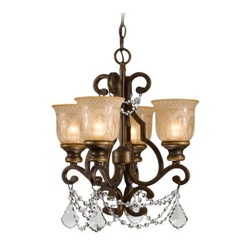 Crystorama Lighting Crystal Mini-Chandelier with Amber Glass in Bronze Umber Finish 7504-BU-CL-MWP