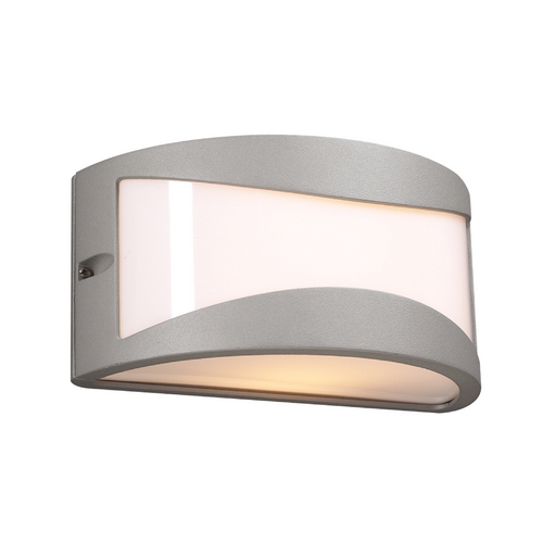 PLC Lighting Modern Outdoor Wall Light with White Glass in Silver Finish 1727 SL