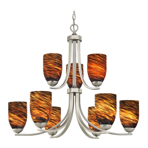 Design Classics Lighting Modern Chandelier with Brown Art Glass in Satin Nickel Finish 586-09 GL1023D