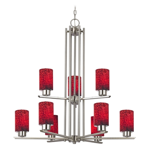Design Classics Lighting Chandelier with Red Glass in Satin Nickel - 9-Lights 1122-1-09 GL1018C