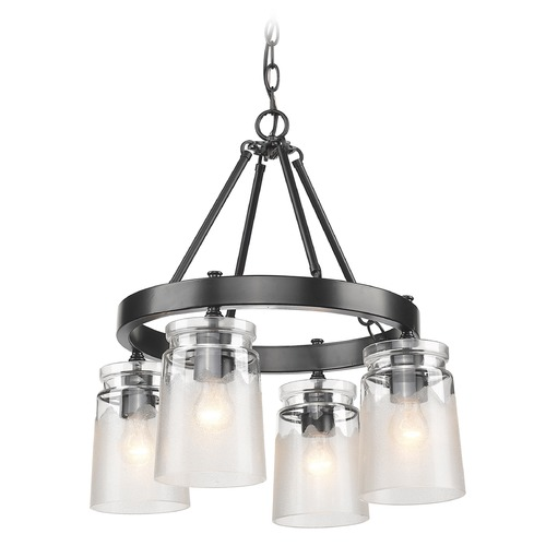 Golden Lighting Travers BLK 4 Light Chandelier in Black 1405-4 BLK-CAG