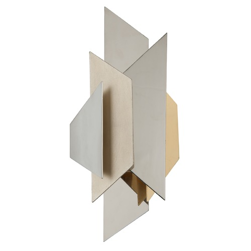Corbett Lighting Modern Art Deco Sconce Polished Stainless With Silver and Gold Leaf Modernist by Corbett 207-12