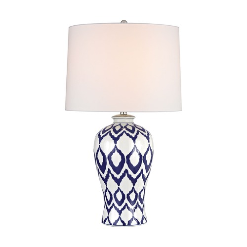 Dimond Lighting Dimond Kew Blue and White Glaze Table Lamp with Drum Shade D2921