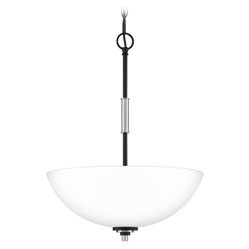 Quoizel Lighting Quoizel Lighting Conrad Matte Black with Brushed Nickel Pendant Light with Bowl / Dome Shade CRD2816BN
