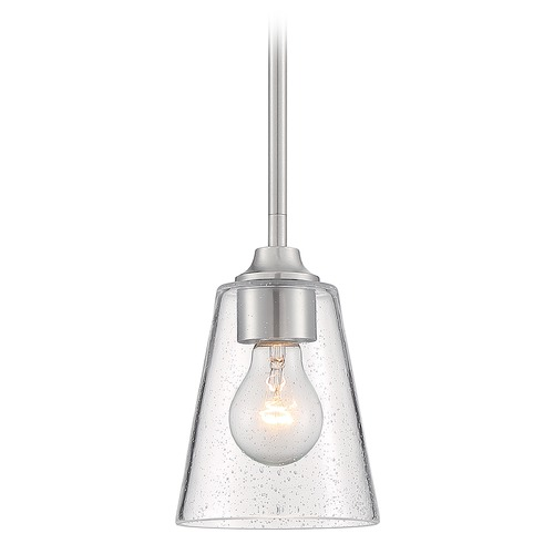 Satco Lighting Satco Lighting Bransel Brushed Nickel Mini-Pendant Light with Conical Shade 60/7180