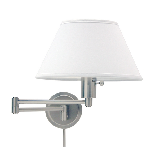 House of Troy Lighting Swing Arm Lamp with White Shade in Satin Nickel Finish WS14-52