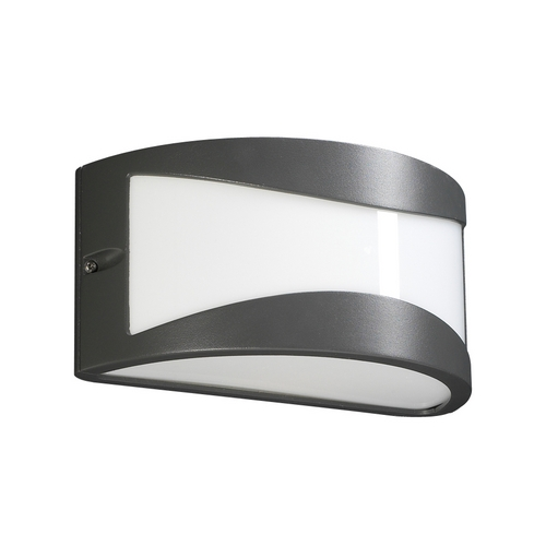 PLC Lighting Modern Outdoor Wall Light with White Glass in Bronze Finish 1727 BZ