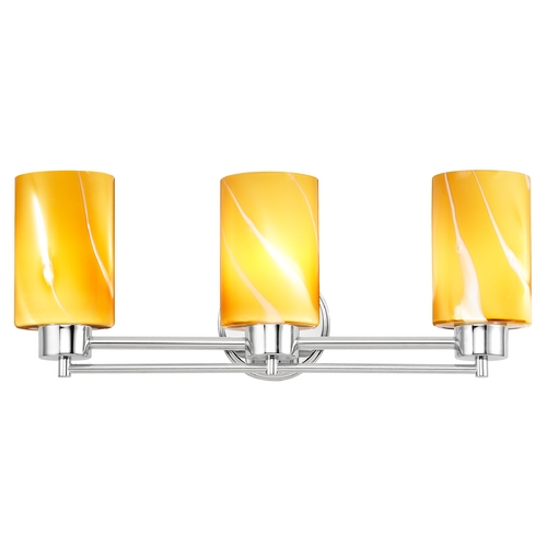 Design Classics Lighting Modern Bathroom Light with Butterscotch Art Glass in Chrome Finish 703-26 GL1022C