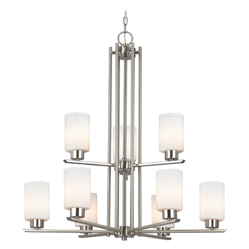 Design Classics Lighting Chandelier with White Glass in Satin Nickel - 9-Lights 1122-1-09 GL1020C