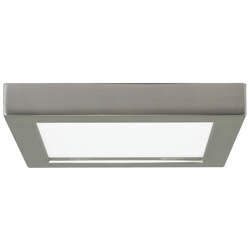 Design Classics Lighting 7-Inch Square Nickel Low Profile LED Flushmount Ceiling Light - 2700K 8333-27-SN