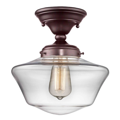 Design Classics Lighting 10-Inch Bronze Clear Glass Schoolhouse Ceiling Light FAS-220 / GA10-CL