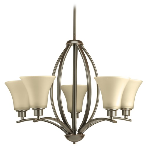 Progress Lighting Progress Chandelier with Brown Glass in Antique Bronze Finish P4490-20