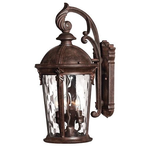Hinkley Outdoor Wall Light with Clear Glass in River Rock Finish 1898RK