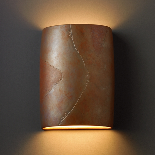 Justice Design Group Sconce Wall Light in Tierra Red Slate Finish CER-8858-SLTR
